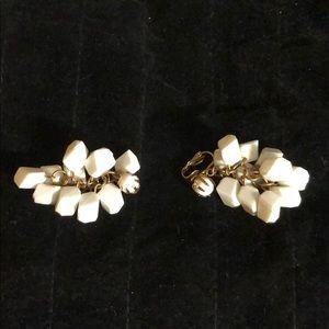 Beautiful Vintage White dangle Clip-On Earrings